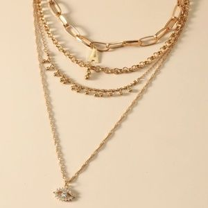 """Letter """"A"""" and Eye Layered Necklace"""